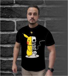 Camisetas Pikachu Metade Esqueleto